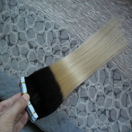 Wholesale taped wefts hair extensions - Ombre brazilian hair 100g 40pcs Straight #1B 613 You can draw color Ombre Virgin Remy Skin Wefts tape in hair extensions human hair