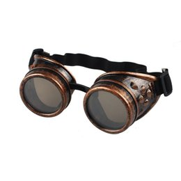 Wholesale Victorian Steampunk Dresses - Wholesale-Essential Unisex Gothic Vintage Victorian Style Steampunk Goggles Welding Punk Gothic Glasses Cosplay 4 Colors Dress Decor