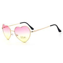 Wholesale Ladies Eyeglasses - Hot Sun glasses Women Color Coated Lenses New heart Shaped Sunglasses Elegant Lady Sunglasses Love Shape Eyeglasses 11 Color Gold frame