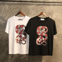 Wholesale Men Striped Shirt Black White - 2017 Wholesale GU tee clothing Men's T-Shirts 3D red Plate snake painting hip hop clothing mens designer shirts plus size black white