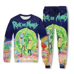 Wholesale Top Fashion Shirt For Man - Rick And Morty Pattern printing Joggers Tracksuit for men and women 2017 fashion hot Unisex Pants + top shirts sport Outfit