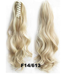 Wholesale Blonde Claw Hair Extensions - Heat resistance fibre Drawstring elastic Claw hairpin Ponytail wavy hair piece pony tail extension blonde Hairpiece 180g pc 22''