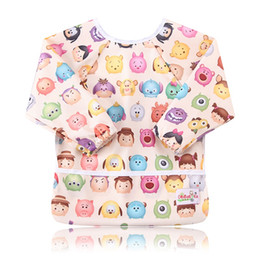 Wholesale Plain Clothes Wholesales - Ohbabyka Infant Kids Baby Unisex Feeding Bibs Baby Waterproof Long Sleeve Baby Feeding Clothes for Toddler 6-24Month 2PCS Pack