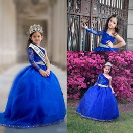 Wholesale One Long Sleeve Pageant Dresses - Royal Blue Girl's Pageant Dresses With Sash One Shoulder Beaded Appliques Flower Girls Dresses Long Sleeves Kids prom dress Birthday Gown