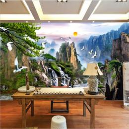 murais de parede chineses Desconto Estilo chinês Pinturas de Paisagens Murais de Parede Nascer do sol Cachoeiras de Montanha Vermelho-coroado Guindaste Personalizado 3D Foto Papel De Parede Sala de estar