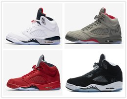 Wholesale Women Leather Suits - retro 5 Flight Suit east west white cement red blue suede camo basketball shoes women men sneakers Oreo black white metallic 5s