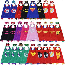Wholesale Cape Styles - Children double layer Superhero capes & mask 2pcs set DHL Shipping over 100 style baby kids cosplay superhero party cape L70*W70cm