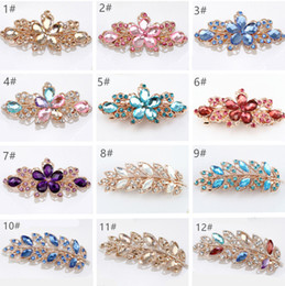 Wholesale Hairclip Feathers - Women Crystal Flower Rhinestone Hair Pins Brial Hair Accessories Crystal Leaf Hairpins Clip Barrette Twinkling Hairclip Wedding Hair Jewelry