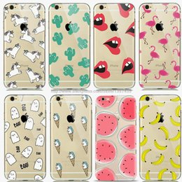 Wholesale Banana For Iphone - For Iphone 6 Case Fruit Banana Unicorn Transparent Silicone Soft Tpu Cases For Iphone 6s Cactus Cover Lips Flamingo Phone Cover