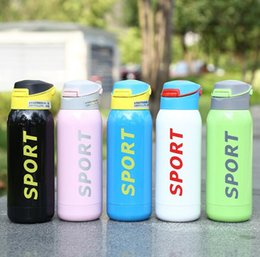 Wholesale Stainless Steel Bottle Print - Stainless Steel Sport bottle vacuum sport print bottle coffee mug with straw Insulated Vacuum Drink Bottle tea cup 350ml LJJK802