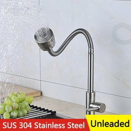 Wholesale Sink Faucet Dish - Kitchen Sitting Shower Water tap Deck mounted Free Rotation 304 Stainless Steel Unleaded Cold Faucet for Kitchen Dish Basin Sink with Hose