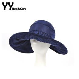 Wholesale Roll Up Visor Hat - Wholesale- 2016 Summer Roll Up Sunhats Wide Brim Sun Visor Hat Women Fashion Solid Beach Hat Ladies Adjustable Folding Sun Cap YY60180