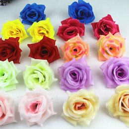 Wholesale Real Touch Flower Arrangement - 8Cm Fabric Flowers Real Touch Flowers Flower Head For Home Wedding Arrangement Bouquet Decoration Artificial Flowers
