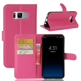 Wholesale Galaxy Mini Skin - For Samsung Galaxy S8 Plus Note8 2017 A3 A5 A7 J3 Prime J1 mini Litchi Skin Flip Wallet Card Leather Case Stand Holder Cover cases 1pcs 5pcs