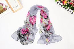 Wholesale China Shawls Wholesale - China flower tree peony chiffon scarves new design scarf flower hot sell elegant pashmina shawl warp headband wholesale scarf GL-SX035