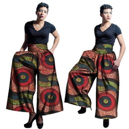 Wholesale African Pants - 2017 New African Fabric Wax Print High Waist Loose Pants Plus Size African Clothes for Women Office Bazin Riche Wide Leg Pants WY1679