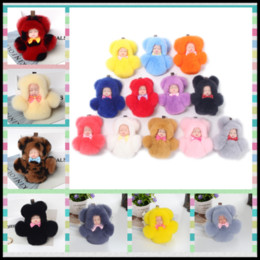Wholesale Wholesale Vinyl Bag - Lovely 17 Colors Sleepdolls with Pompoms Bunny Fur Vinyl Dolls Key Ring 14cm Keychain Bag Car Hanging Pendant