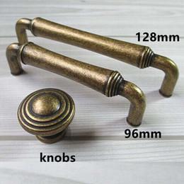 Wholesale Vintage Kitchen Pulls - 96mm 128mm vintage style furniture handles bronze kitchen cabinet drawer pulls knobs antique brass dresser door handles retro