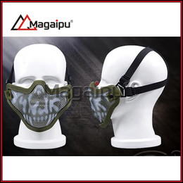 Wholesale Steel Skull Face Mask - Magaipu ZL-V1 Half Lower Face Metal Steel Net Mesh Hunting Tactical Protective Airsoft Double Belt Mask New