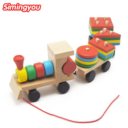 Wholesale Wooden Airplanes - Simingyou Small Wooden Train Toys Dragging Three Carriage Geometric Shape Matching Early Childhood Educational Train Set MZW5