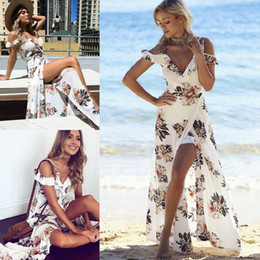 Wholesale Floral Shorts For Women - 2017 Hot Flora Printed Summer White Maxi Casual Dresses for Women Sexy V-neck off shoulder Side Split Beach Bohemian Holiday Dress FS2022