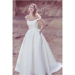 Wholesale Popular Image - 2017 Popular Simple Charming A-line off Shoulder Wedding Dress Satin Bridal Gown Court Train Evening Dress