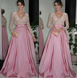 Wholesale Colorful Evening Gowns - A Line Evening Dresses Colorful Full Illusion Sleeve V Neck Sexy Transparent Bow Long Formal Gowns 2016 Elegant Taffeta Custom Made Winter
