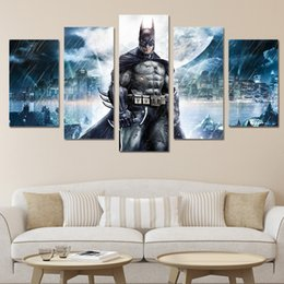 Wholesale Batman Movie Poster - 5Pcs HD Printed Batman Movie Poster Group Painting Canvas Print room decor print poster picture canvas Free shipping