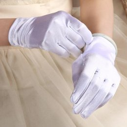 Wholesale Satin Gloves White Short - In Stock Wholesale Wedding Short Bridal Gloves Wrist Length Banquet Party Gloves Full Finger Cheapest Bridal Accessories