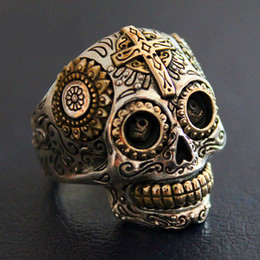 Wholesale Mens Sterling Silver Biker Rings - Sterling Silver Biker Sugar Skull Rings For Men 19g Solid Handcrafted Silver 925 Chunky Mens Ring Gothic Wide Band Male Jewelry
