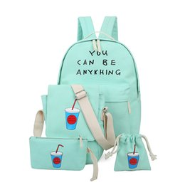 Wholesale Korean Multi Backpack - Wholesale 2017 new 4PCS Set shoulder bag Coke pattern multi-functional backpacks fashion Japanese Korean college wind students bag