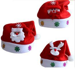 Wholesale Santa Hats For Kids - Christmas hats children Kids Christmas sale Five Star Santa Claus Snowman Elk Snowflakes for kids Hats new Year gifts Flannel Santa Clau