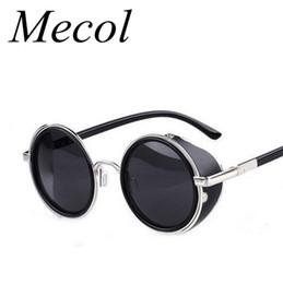 Wholesale Vintage Side Mirrors - Wholesale-Steampunk Sunglasses Women Round Glasses Goggles Men Side Visor Circle Lens Unisex Vintage Retro Style Punk Oculos De Sol M027