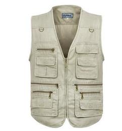 Wholesale Mens Multi Pocket Vest - Wholesale- Fashion Cotton Vests Men 3XL 4XL 5XL Vest Mens Outdoors Cotton Multi Pocket Sleevless Jacket Man Casual Tops Autumn waistcoat
