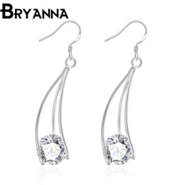 Wholesale Dangle Cz Earring - Bryanna 925 sterling silver dangle earrings for women Fashion Jewelry Wholesale Wedding Gifts Cubic Zirconia CZ long drop earrings E2164