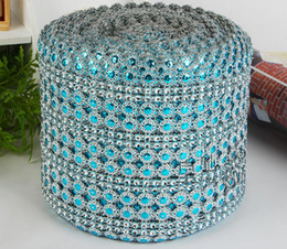 Wholesale Gift Wrap Rolls - 10Yard Blue Sunflower Rhinestone Bendable Diamond Mesh Wrap Roll Sparkle Ribbon Trim For Wedding Craft Gift Party Decoration