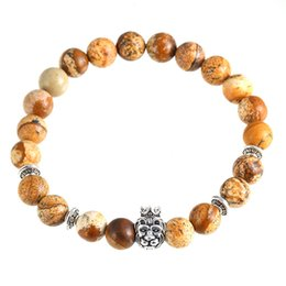 Wholesale Crown Picture - And the wind lion head crown Bracelet hand on natural picture stone beads bracelet