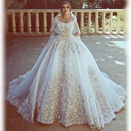 Wholesale Wedding Dresses Draped Neckline - Amazing Dubai Wedding Dresses 2018 Spring Summer 3D Appliques Long Sleeves Bridal Gowns Scoop Neckline Wedding Vestidos Custom Made