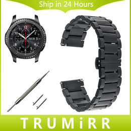 Wholesale Quick Watch - Wholesale-22mm Stainless Steel Watch Band + Quick Release Pins for Samsung Gear S3 Classic Frontier Butterfly Buckle Strap Link Bracelet