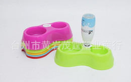 Wholesale Feeders Waterers Pet - Pet Feeder Drinking Bowl Cat Dog Food Bowls With Water Dispenser Pluggable Bottle Automatic Feeders for Pets Supplies Food Dish Double Bowls