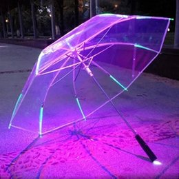 Wholesale Long Handle Flashlight Led - Changing Color LED Umbrella with Flashlight Transparent 8 Rib Long Handle Straight Umbrella Parasol Wholesale