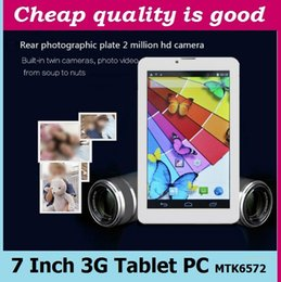 Wholesale Sim Slot 1gb Tablet - 3G Tablet PC 7 Inch Screen MTK6572 dual core 8G Phablet tablets pc Android Bluetooth GPS wifi Dual Camera with sim card slot phone call 50PC