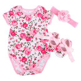 Wholesale Girl Flower Shorts Rosette - Wholesale- 2016 New Spring Rosette Baby Girl Clothes,Newborn Cotton jumper Flower shoes headband set,Cute Kids short sleeve Romper #7B3001