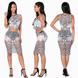 Wholesale Hot Sexy Skirt Set - Hot sale discount set high quality sexy gauze print dress bandage skirt set Europe and the United States classic