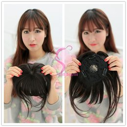 Wholesale Real Hair Hairpieces - Wholesale-Soft Degree Hair 2014 Real Hot Sale 100% Human Bangs Hair Toupe Top Piece Bangs Fringe Clip in Hairpiece free shipping