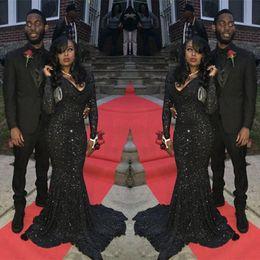2019 image corset girls Bling sirène noir filles paillettes robe de bal sexy sud-africain à manches longues formelle graduation soirée robe de soirée, plus la taille faite sur mesure
