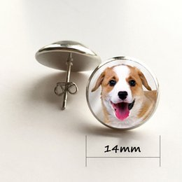 Wholesale Dog Pendant Earring - Dog earrings puppy art photo stud earring two dogs earring animal jewelry glass cabochon pendant silver earings for women gifts