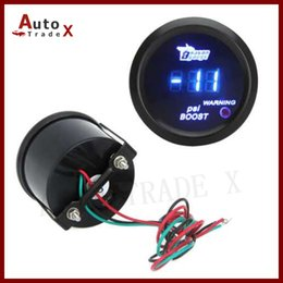 "Wholesale Digital Gauges 52mm - Wholesale- 2"" 52mm Black Car Motor Digital Blue Led Turbo Boost Gauge Meter PSI With Sensor"
