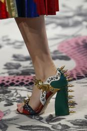 Wholesale Stiletto Spikes - Summer Luxury Malin Spike Leather Sandals Women High Heels Buckle Rivet Block Heel Designer Shoes Woman Open Toe Sandalias Mujer