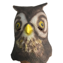 Wholesale Cat Head Costume Adult - Cute Owl Latex Mask Full Head Halloween Animal Bird Minerva Rubber Masks Masquerade Cosplay Party Costume Props Adult Size